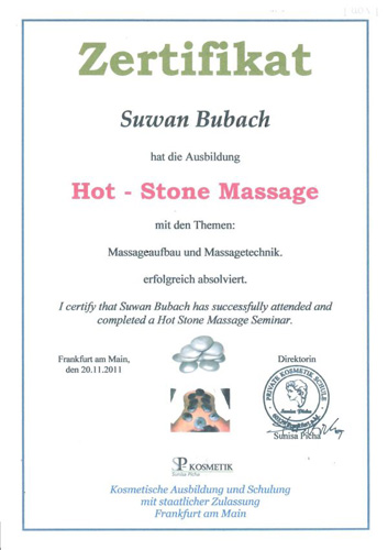 Zertifikat: Hot Stone Massage